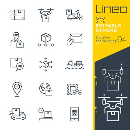Ilustración de Lineo Editable Stroke - Shipping and Logistics line icons. - Imagen libre de derechos