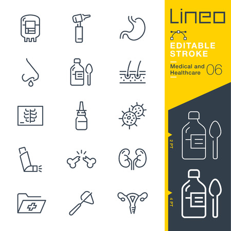 Illustration pour Lineo Editable Stroke - Medical and Healthcare Line Icons - image libre de droit