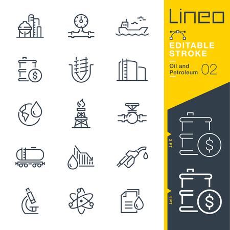 Illustration pour Lineo Editable Stroke - Oil and Petroleum line icons - image libre de droit