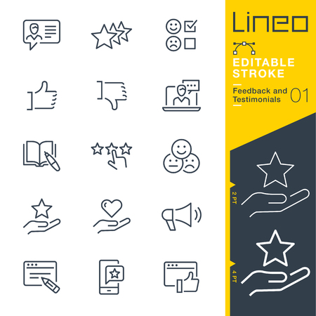 Illustration pour Lineo Editable Stroke - Feedback and Testimonials line icons - image libre de droit
