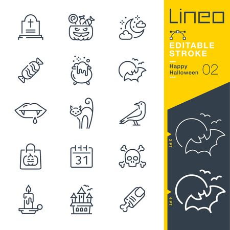 Illustration for Lineo Editable Stroke - Happy Halloween line icons - Royalty Free Image