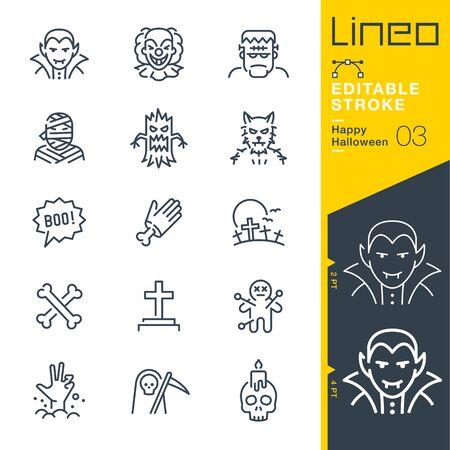 Illustration pour Lineo Editable Stroke - Happy Halloween line icons - image libre de droit