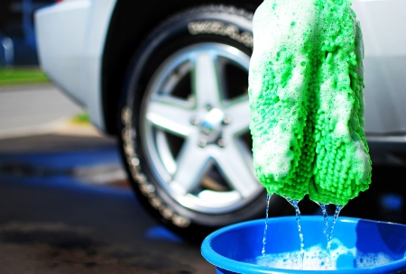 image of a car being washed