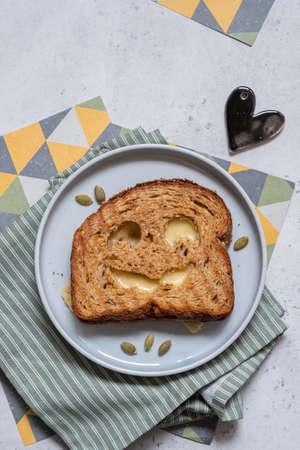 Foto de grilled cheese toast for Halloween - Imagen libre de derechos