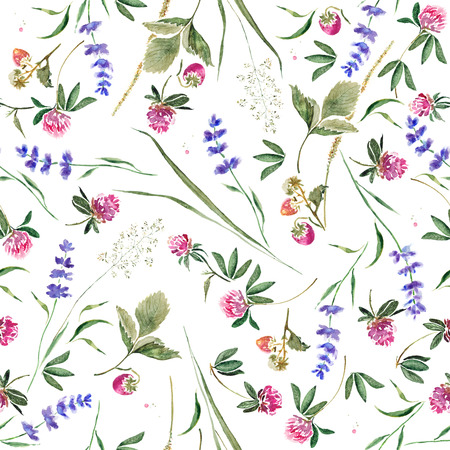 Foto de Seamless pattern with clover, lavender, strawberry berries and herbs. Hand drawn watercolor painting - Imagen libre de derechos