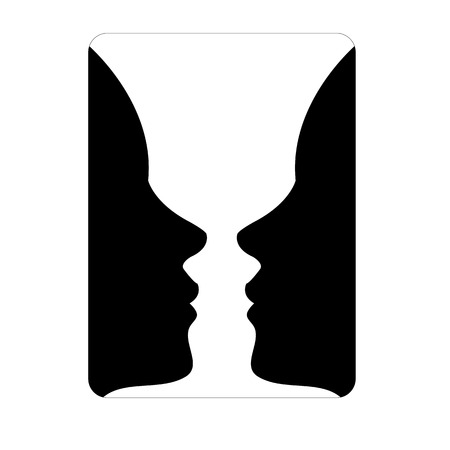 Illustration pour Faces or vase - illusion of two faces appearing like a vase - image libre de droit