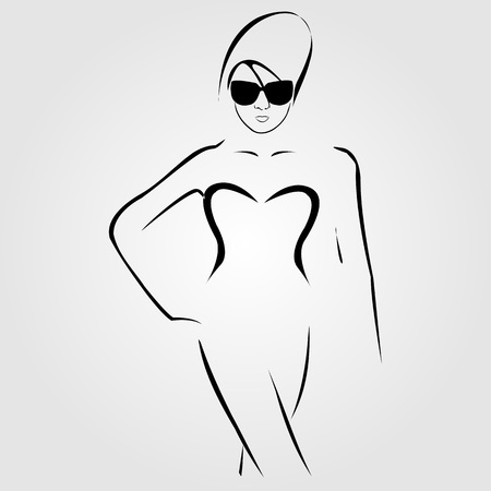 Lady wearing shades and swim suit