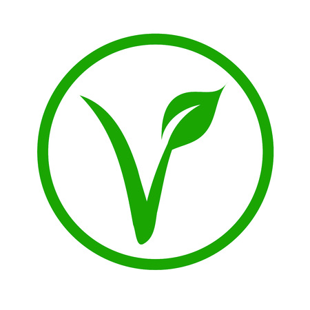 Illustration for Universal vegetarian symbol- The V-label- V with a leaf, originated with the European Vegetarian Union. - Royalty Free Image
