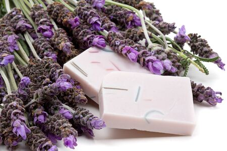 Handmade lavender soap with lavender over white background