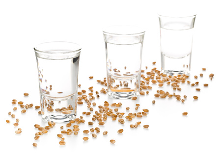 German hard liquor Korn Schnapps in shot glasses with wheat grains over white background