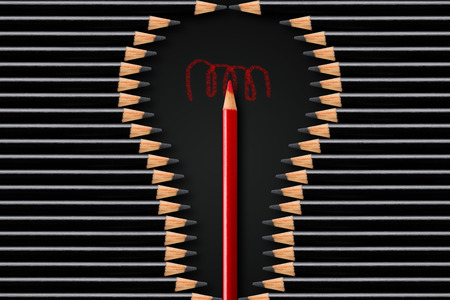 Photo pour Creativity, idea or brainstorming business concept, lightbulb shape formed by black pencils with red pencil in the middle, minimal concept flatlay from above on black background - image libre de droit