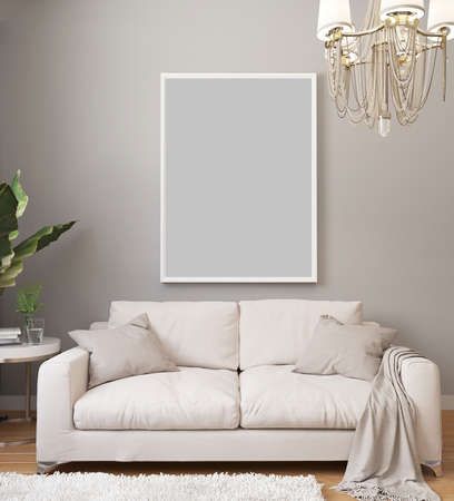 Photo pour Poster mockup in white frame on light wall in classic luxury interior with chandelier and white sofa, plants. Modern light interior design with blanket picture. 3d rendering. - image libre de droit