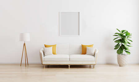 Photo pour Blank frame in bright modern living room with white sofa, floor lamp and green plant on wooden laminate. Scandinavian style, cozy interior background. Bright stylish room mockup.3d render - image libre de droit