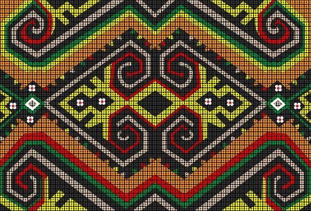 Ilustración de The Sarawak Beads are lovingly handcrafted and designed by the Dayak Tribe of Malaysian Borneo. Add a splash of colour and personality with the vibrant tribal motive. - Imagen libre de derechos