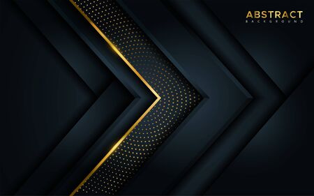 Illustration pour Abstract luxury dark background with golden lines and circular glowing golden dots combinations. Overlap modern background - image libre de droit