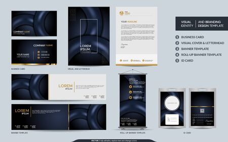 Illustration for Luxury dark navy stationery mock up set and visual brand identity with abstract overlap layers background . Vector illustration mock up for branding, cover, card, product, event, banner, website. - Royalty Free Image