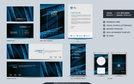 Illustration pour Modern blue stationery mock up and visual brand identity set. Vector illustration mock up for branding, background, cover, card, product, event, banner, website. - image libre de droit