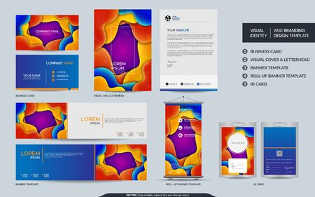 Illustration pour Colorful stationery mock up and visual brand identity set. Vector illustration mock up for branding, background, cover, card, product, event, banner, website. - image libre de droit