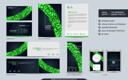 Illustration for Modern navy and green colorful stationery mock up and visual brand identity set. Vector illustration mock up for branding, background, cover, card, product, event, banner, website. - Royalty Free Image