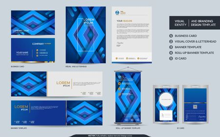 Illustration pour Modern dynamic colorful blue stationery mock up and visual brand identity set. Vector illustration mock up for branding, background, cover, card, product, event, banner, website. - image libre de droit