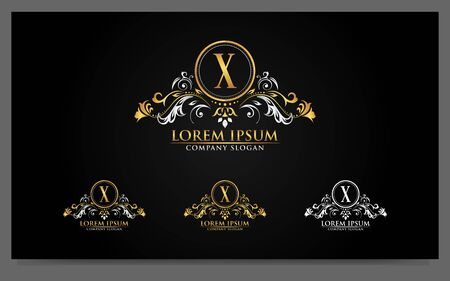 Illustration for Luxury alphabets logo with golden badges design template. Vector graphic illustration - Royalty Free Image