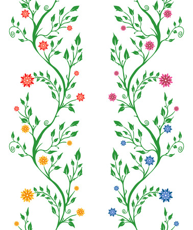 Set of four patterns of branch with flowers and leaves