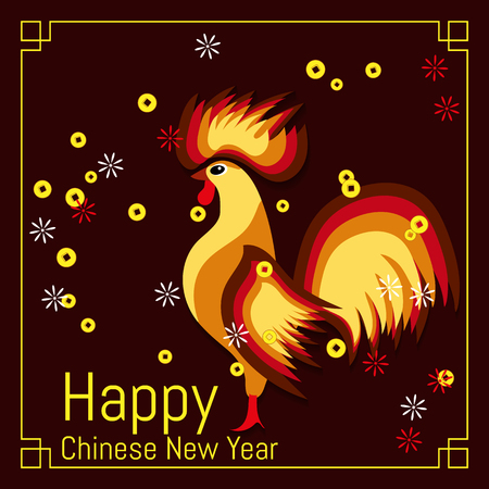 Chinese New Year banner with rooster and coins. Traditional Spring Festival. Vector illustration.