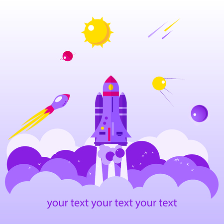 Flat banner on space theme on light background. Vector illustration