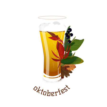 Banner for Octoberfest with autumn leaves and glass of beer. Vector illustration