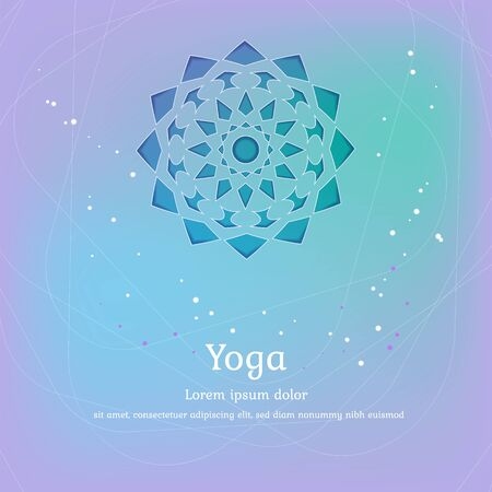 Vector background for yoga. Design for packaging and posters on soft blue, green and turquoise colours with floral pattern. Yoga exercises, recreation, healthy lifestyle. Yoga studio template.