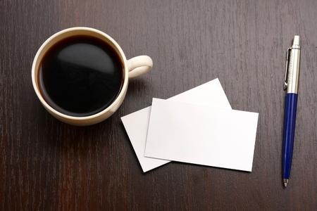 Foto de coffee and business card - Imagen libre de derechos