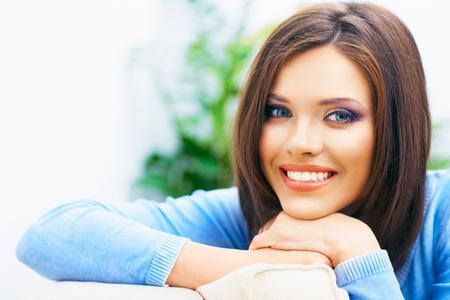 Foto de Toothy smiling girl close up portrait. Long hair young model. - Imagen libre de derechos