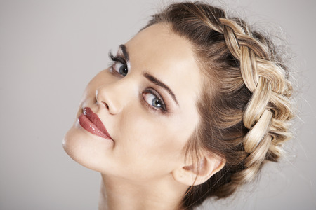 Foto de Woman hair style portrait . isolated - Imagen libre de derechos