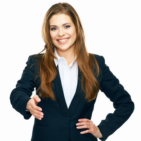 Photo pour Business Woman Give Hand for Shake. white background isolated portrait. - image libre de droit