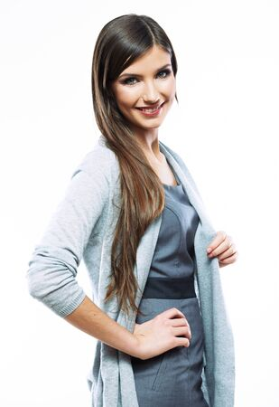 Photo pour Business woman standing against white background. Smiling female business model studio  posing. - image libre de droit