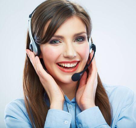 Photo pour Smiling woman call center operator touching headsed. Close up business woman portrait. Female model. - image libre de droit