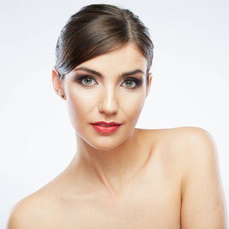 Photo pour Beauty woman face close up portrait. Smiling female young model. Studio isolated . - image libre de droit