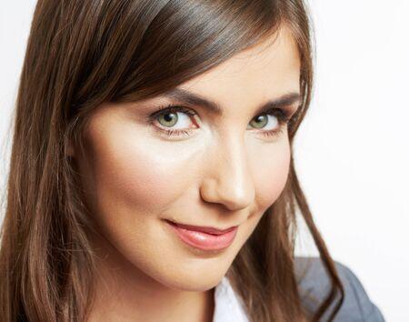 Photo pour Close Up Portrait of smiling  business woman, isolated on white background - image libre de droit