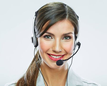 Photo pour Portrait of woman customer service worker, call center smiling operator with phone headset isolated on white background - image libre de droit