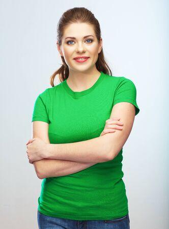 Photo pour Young woman isolated portrait, green dressed female model. - image libre de droit