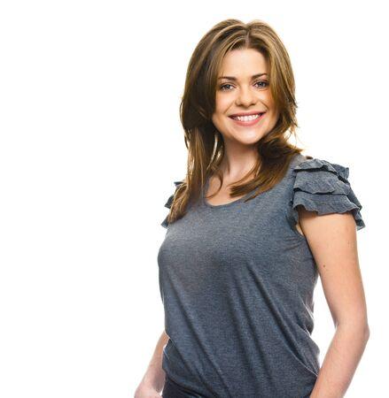 Photo pour Smiling woman on white background. - image libre de droit