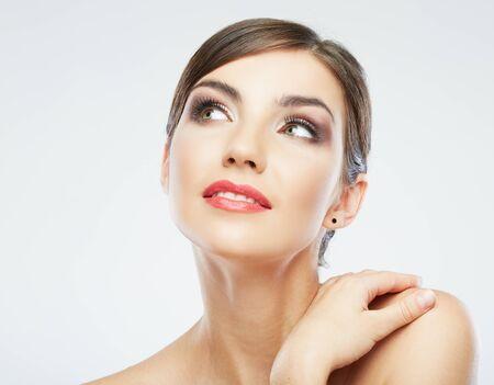Foto de Woman beauty portrait. isolated on white. close up female face. - Imagen libre de derechos