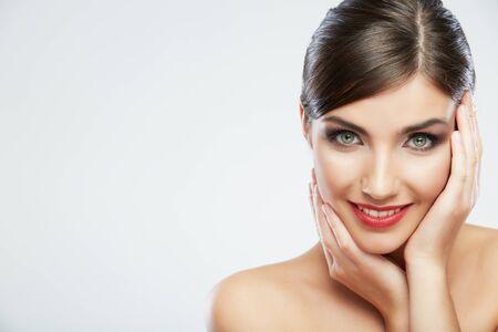 Photo pour Woman hair style fashion portrait. isolated. close up female face. Long hair. - image libre de droit