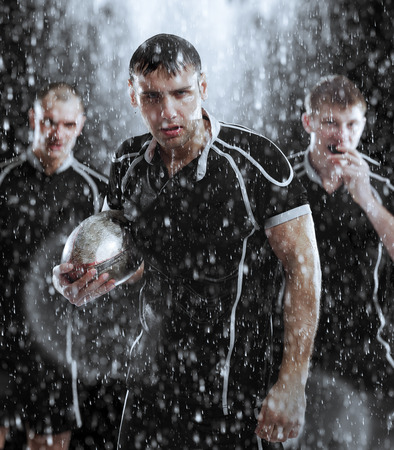 portrait player Rugby in the rain