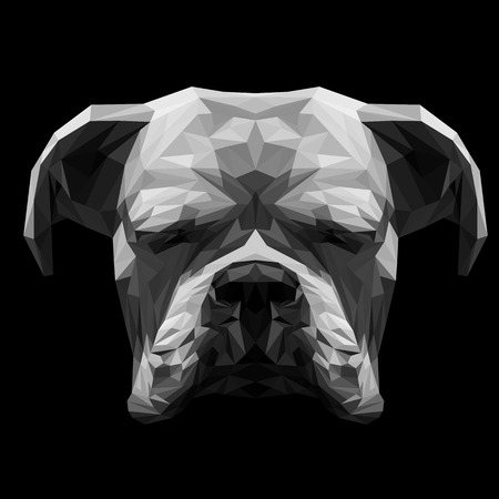 Illustration pour White boxer dog animal low poly design. Triangle vector illustration. - image libre de droit