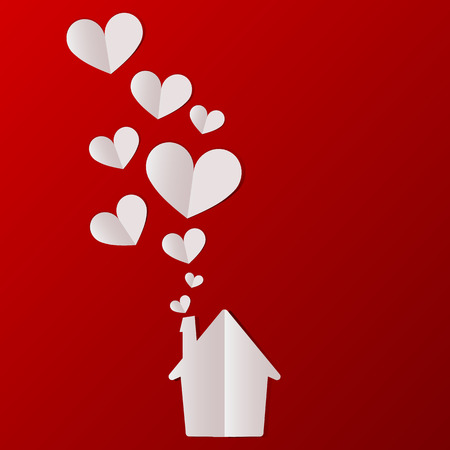 Illustration pour Valentines day house with hearts background. Vector illustration. - image libre de droit
