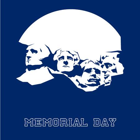 Illustration pour Memorial Day Mount Rushmore. Vector illustration. - image libre de droit