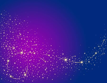Illustration pour Festive background with golden stars on a background of the night sky. Vector color illustration. - image libre de droit