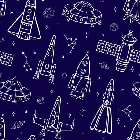 Illustration pour Cartoon flying spaceships in outer space among the planets and stars. Seamless vector pattern on a blue background. - image libre de droit