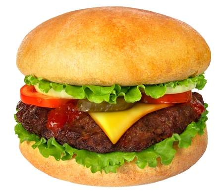 Hamburger close up. It is isolated on a white background